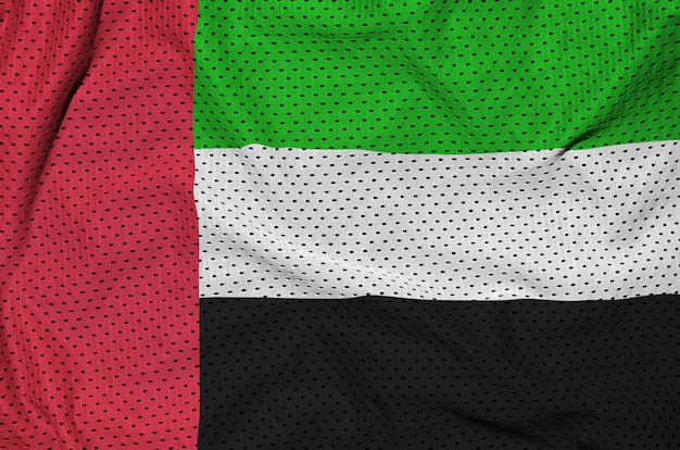 Bandeira dos emirados árabes unidos impressa em um tecido de sportswear de poliéster e nylon