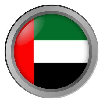 Bandeira dos emirados árabes unidos redonda como um botão
