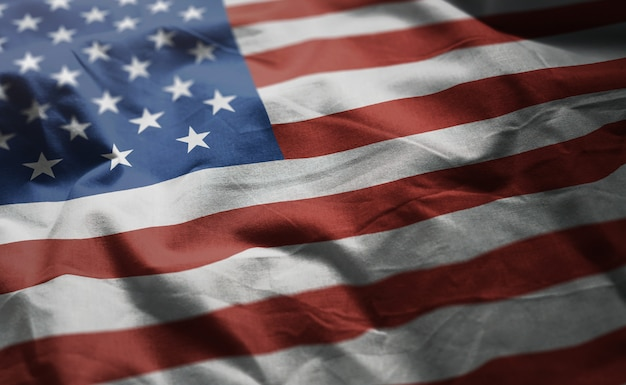 Bandeira dos estados unidos da américa amarrotada close up