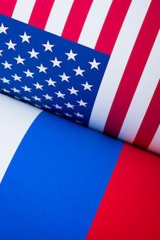 Bandeira dos estados unidos da américa e rússia