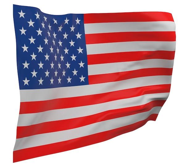 Bandeira dos estados unidos da américa isolada. bandeira ondulante. bandeira nacional dos estados unidos da américa