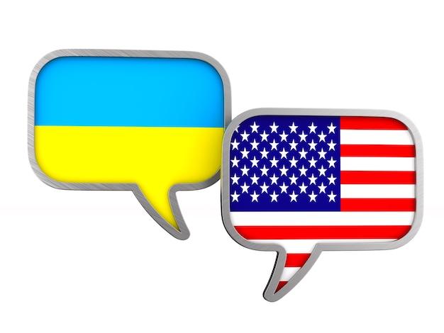 Bandeira dos eua e da ucrânia no espaço em branco. ilustração 3d isolada
