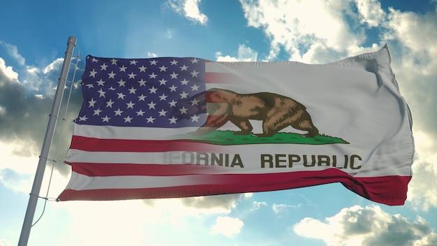 Bandeira dos eua e do estado da califórnia