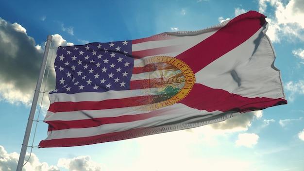 Bandeira dos eua e do estado da flórida