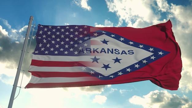 Bandeira dos eua e do estado de arkansas
