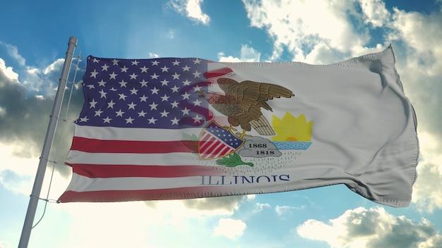 Bandeira dos eua e do estado de illinois