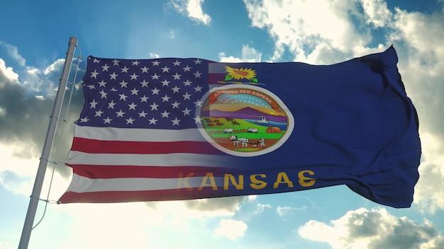 Bandeira dos eua e do estado de kansas