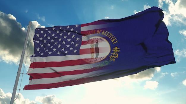 Bandeira dos eua e do estado de kentucky