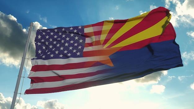 Bandeira dos eua e do estado do arizona