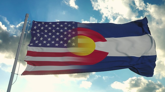 Bandeira dos eua e do estado do colorado