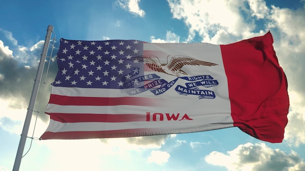 Bandeira dos eua e estado de iowa