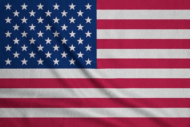 Bandeira dos eua em tecido texturizado. símbolo patriótico