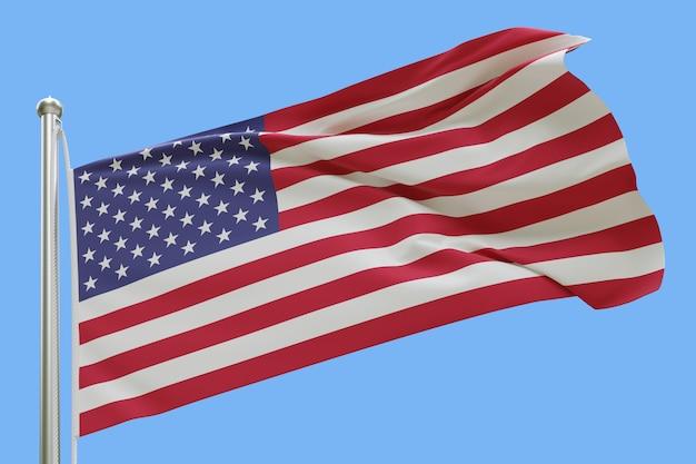 Bandeira dos eua no mastro da bandeira balançando ao vento isolado em fundo azul