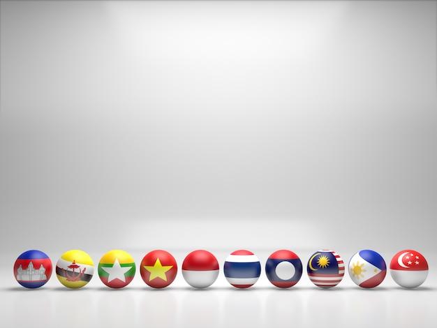 Bandeira dos países da asean. renderização 3d.