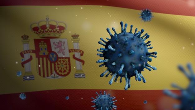 Bandeira espanhola acenando e o conceito de coronavirus 2019 ncov. surto asiático na espanha, o coronavírus da gripe é tão perigoso quanto uma pandemia. vírus do microscópio covid19 close-up