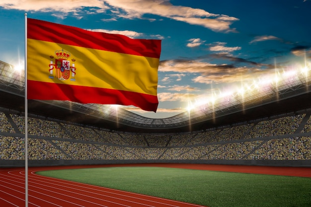 Bandeira espanhola em frente a um estádio de atletismo com fãs.