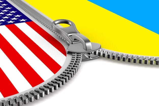 Bandeira eua e ucrânia e zíper. ilustração 3d