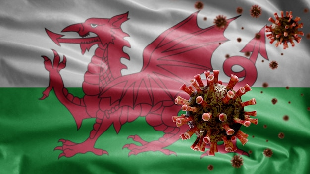 Bandeira galesa acenando com surto de coronavírus infectando o sistema respiratório como uma gripe perigosa