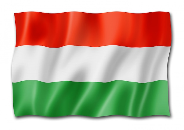 Bandeira húngara isolada no branco