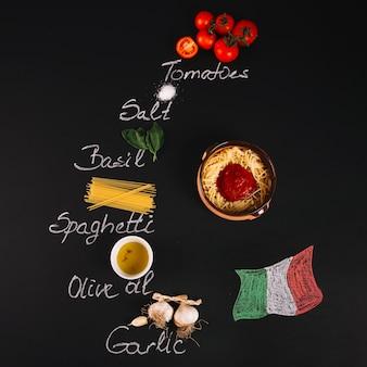 Bandeira italiana perto de ingredientes para macarrão