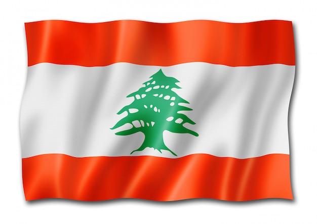 Bandeira libanesa isolada no branco