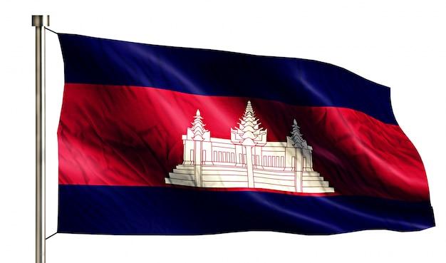 Bandeira nacional cambojana isolada 3d fundo branco