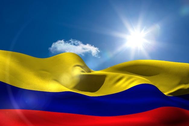 Bandeira nacional da colômbia sob o céu ensolarado