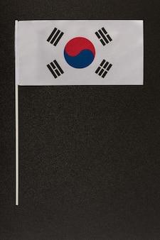 Bandeira nacional da coréia do sul em fundo preto