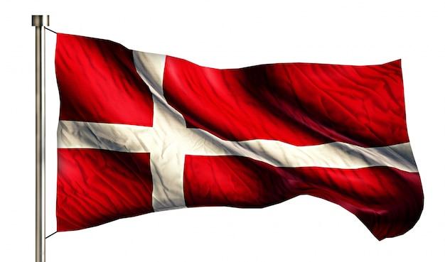 Bandeira nacional da dinamarca isolada fundo branco 3d
