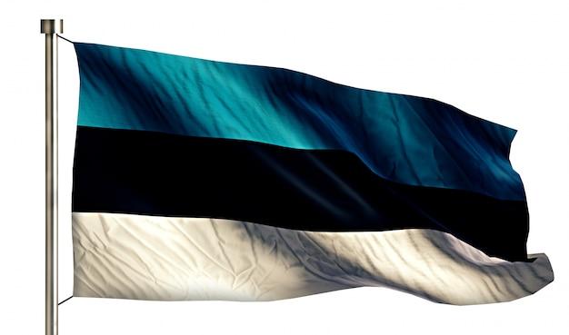 Bandeira nacional da estônia isolada 3d fundo branco