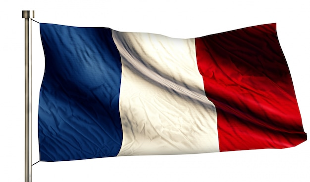Bandeira nacional da frança isolada fundo branco 3d