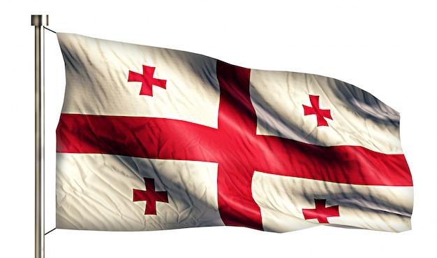 Bandeira nacional da geórgia isolada 3d fundo branco