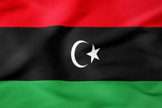 Bandeira nacional da líbia - símbolo patriótico de forma retangular