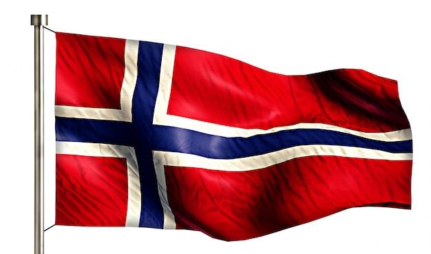 Bandeira nacional da noruega isolada 3d fundo branco