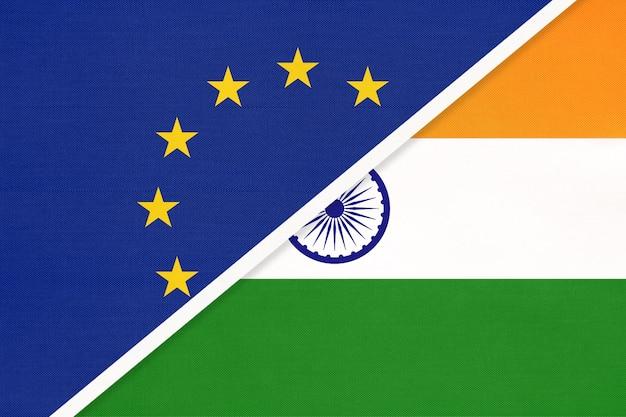 Bandeira nacional da união europeia ou da ue e da república da índia em têxteis.