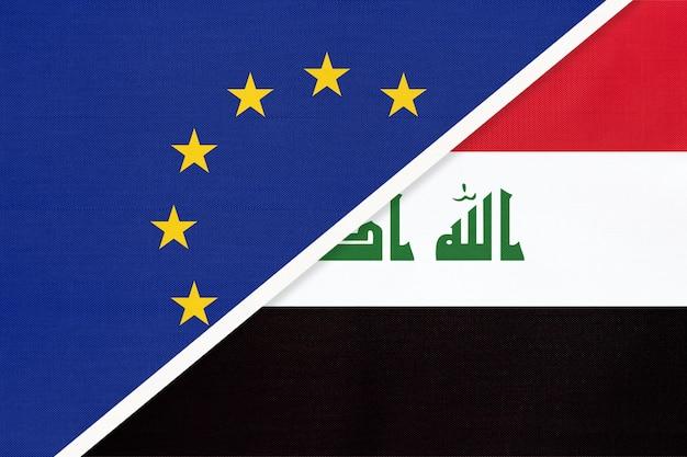 Bandeira nacional da união europeia ou da ue e da república do iraque em têxteis.