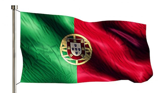 Bandeira nacional de portugal isolada fundo branco em 3d