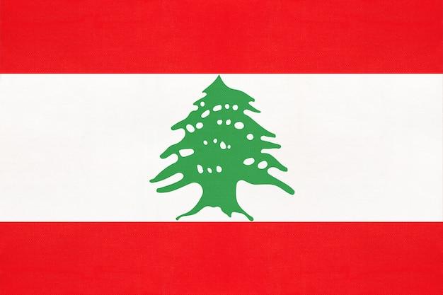 Bandeira nacional de tecido do líbano, fundo de têxteis. sinal oficial do estado libanês.