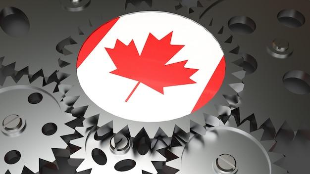 Bandeira nacional do canadá com engrenagens