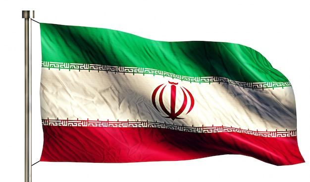 Bandeira nacional do irã isolada fundo branco 3d