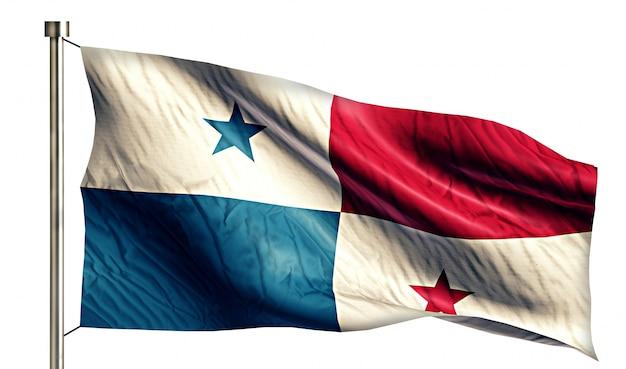Bandeira nacional do panamá isolada fundo branco 3d