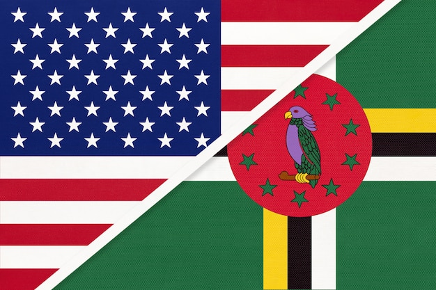 Bandeira nacional eua vs dominica. relação entre dois países.