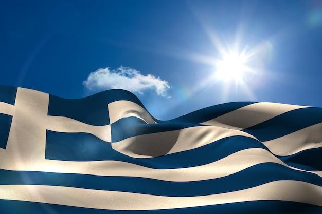 Bandeira nacional grega sob o céu ensolarado