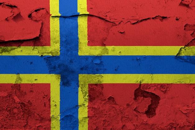 Bandeira nacional pintada de orkney em uma parede de concreto