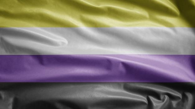 Bandeira não binária balançando ao vento. banner de genderqueer soprando seda lisa. estandarte de textura de tecido de pano