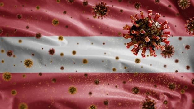Bandeira ondulante austríaca e vírus do microscópio coronavírus