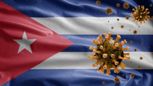 Bandeira ondulante cubana e vírus do microscópio coronavírus