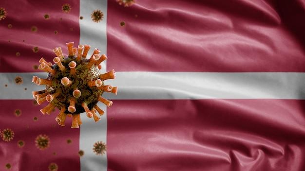 Bandeira ondulante dinamarquesa e vírus do microscópio coronavírus