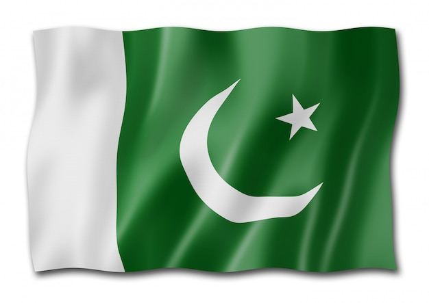 Bandeira paquistanesa isolada no branco