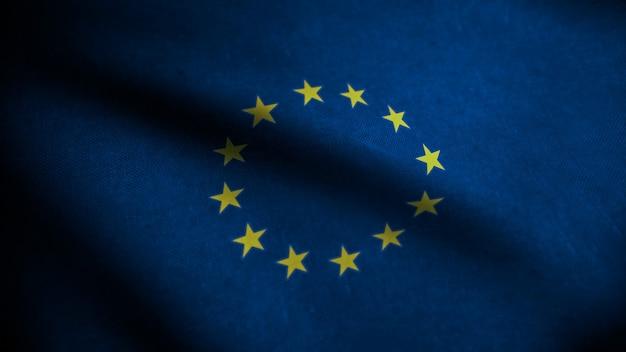Bandeira realista da união europeia na superfície ondulada do tecido. fundo europeu. bandeira do eouro texturizada. renderização 3d.